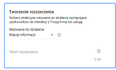 Opis: Zdjęcie z interfejsu Google Ads. Rozszerzenia formularzy kontaktowych.
